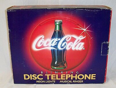 New Coca Cola - Dual Neons - Blinking Light - Musical Disc Telephone Nib