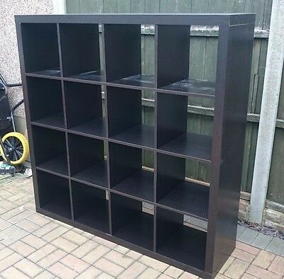 Ikea kallax black brown shelving unit 5x5 for Ikea box shelf unit