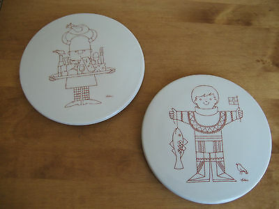 Vintage Pair Of Bing & Grondahl Antoni Wall Plaques Made In Denmark