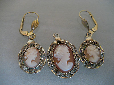 Vintage Earring And Pendant Cameo Set Gf 1/20 12K