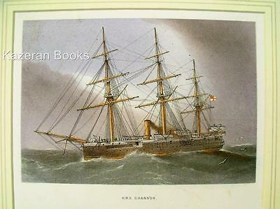 Antique Colour Lithographic Print HMS Shannon Victorian Ships Of The Royal Navy
