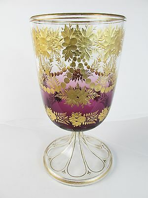 """c1880 MOSER Art Glass 8 1/2"""" CHALICE~~Shaded Amethyst Engraved w/Gilding"""