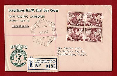 1952 Australia Scout Jamboree First Day Cover Reg. Greystanes 29.12.52 Rare