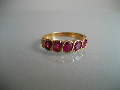 Vintage 20 K Yellow Gold And Ruby Gemstone Ring