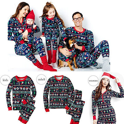 Christmas Family Matching Pajamas Baby Kids Adult Sleepwear Nightwear Outfits