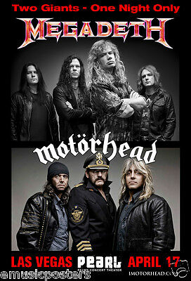 MEGADETH/MOTORHEAD LAS VEGAS 2014 CONCERT TOUR POSTER -2 Giants - One Night Only