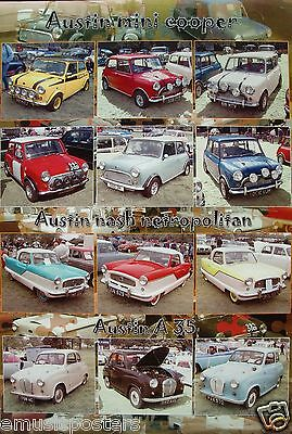 Austin Mini-Coopers, Nash Netropolitan, A35 Poster - British Cars / Automobiles