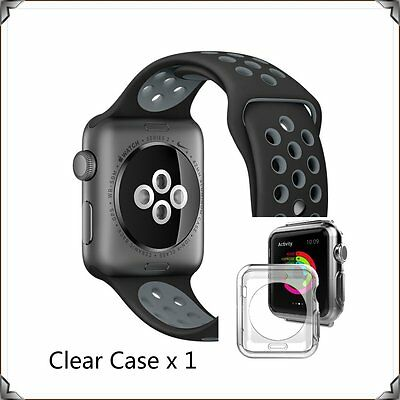 Black Grey New Style Sports Silicone Strap Band Apple Watch 42mm Clear Case