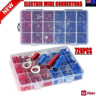 Electrical Wire Connectors 720pcs Assorted Insulated Crimp Terminals Spade Kit
