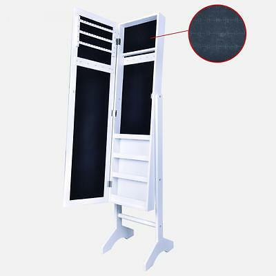 White Mirrored Jewelry Cabinet Armoire Stand Mirror Rings Necklaces Y60