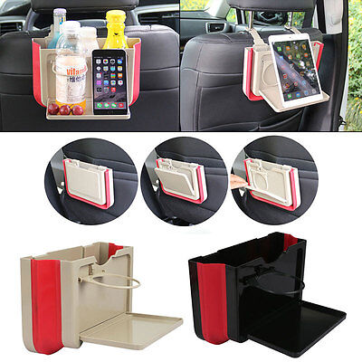 Car Seat Back Storage Box Travel Folding Table Drink Holder Tray Organiser Beige