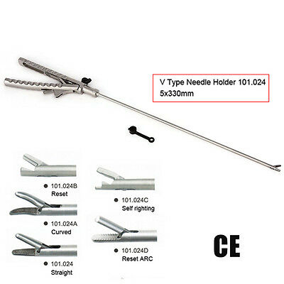 Laparoscopic Tool  Needle Holder V Type φ5X330mm Straight Handle  Endoscopy