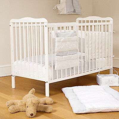 New 4Baby White Solid Wood Eva Baby Cot & Sprung Deluxe Safety Mattress