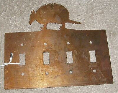 Armadillo 4 -Light Switch Cover - Metal/Brass Western Southeast Texas Decor