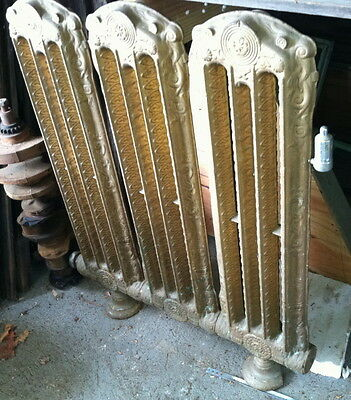 Early cast iron ornamental wall radiator steampunk 1800s Griffing iron Firepots