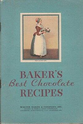 Baker's Best Chocolate Recipes 1932 Booklet Walter Baker & Co Dorchester MA