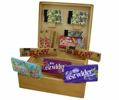 Grassleaf Large Wooden Rolling Cigarette Box Gift Set, Raw King-SIZE, Roach Tips