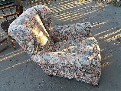 Vintage Howard Style Deep Wing-Back Fabric Covered Armchair