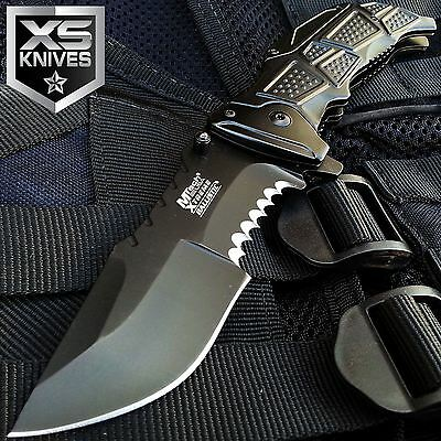 "9"" MTECH Xtreme BLACK OPS HALF SERRATED Spring Assisted TACTICAL Pocket Knife"