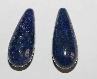 AAA TOP FINE  Lapis Lazuli   Long Drop Briolette  Pair  9x22mm Half Drilled