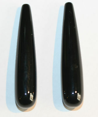 AAA TOP FINE  Onyx  Long Drop Briolette  Pair  40x8mm Half Drilled