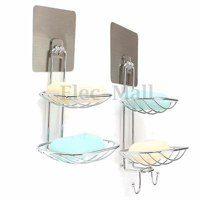 2 Deck Soap Holder Dish Basket Hook Bathroom Shower Tray Wall Strong Suction Cup