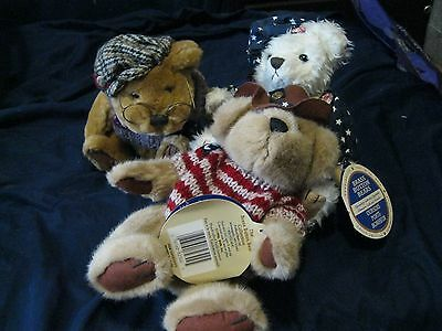 3 Brass Button Bears w/Tags Sherwood, Opal & Cody Excellent condition 1996