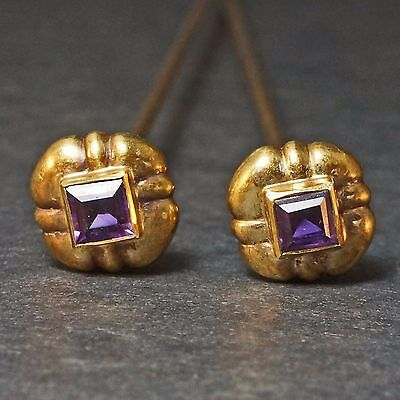 Two, Rare, Antique Victorian, Solid 14K Yellow Gold & Amethyst, Estate Hat Pins