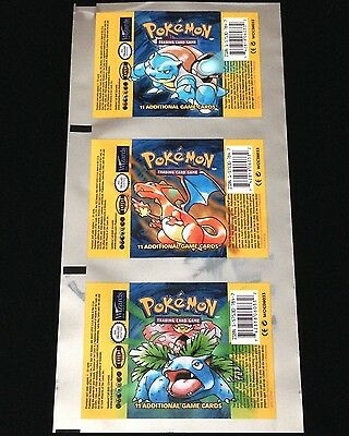 Base Set UNCUT Booster Pack WRAPPER Charizard Blastoise Venusaur Pokemon