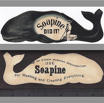 Whale 1800's Whaling Soapine Soap Kendall Providence RI Die-Cut Advertising Card