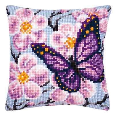 Purple Butterfly- Large Holed Printed Tapestry Cushion Kit -Chunky Cross Stitch
