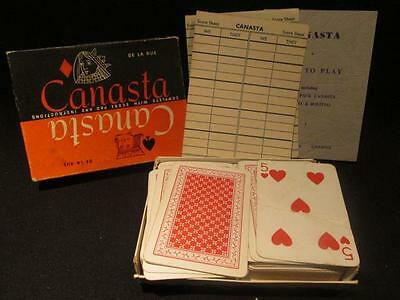 De LaRue Vintage Canasta Game Complete in Box with Score Sheets & Instructions