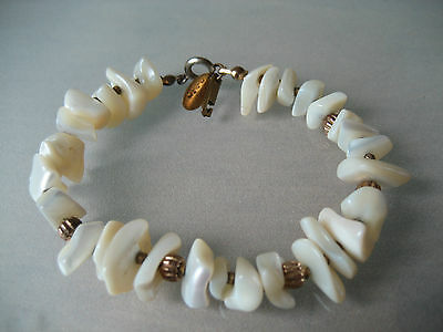 Vintage Miriam Haskell Shell With Gold Spacer Beads Bracelet