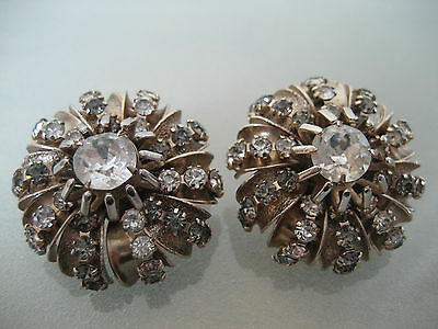 Vintage Large Spectacular Hobe Clear And Taupe Rhinestone Clip On Earrings
