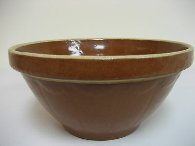Vintage Cinnamon Brown Glaze Yellow Ware Mixing Bowl