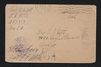 Usa 1919 Apo 717 Censored Aef Soldiers' Cover To Chicago Illinois