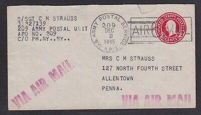 Usa 1945 Airmail Apo 209 Germany Soldiers' Cover To Allentown Pennsylvania