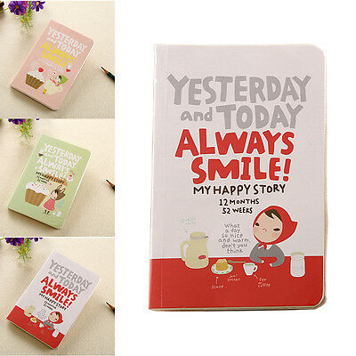 Fashion Lovely Red Hat Girl Agenda Diary Notebook Weekly Daily Planner Record AU