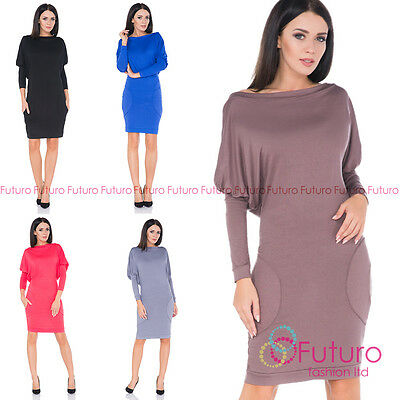 e268ee05ab39 Ladies Above the Knee Bodycon Batwing Boat Neck Long Sleeve Office Dress  8215