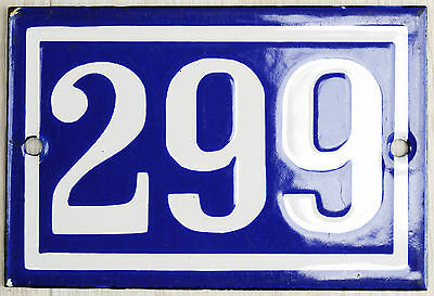 Old blue French house number 299 door gate plate plaque enamel steel metal sign