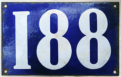 Giant old blue French house number 188 door gate plate plaque enamel metal sign