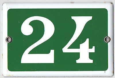 Green French house number 24 door gate plate plaque enamel steel metal sign