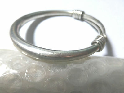 Chinese  carved Miao silver bracelet Merlin, bamboo and chrysanthemum