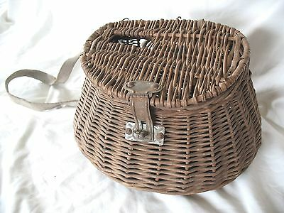 Old antique vintage trout fly fishing basket weave creel