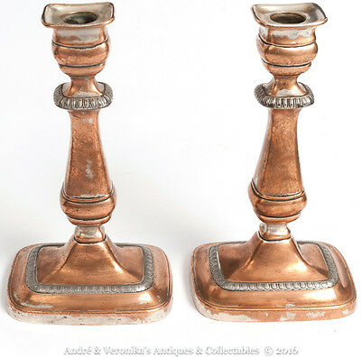 """Antique Pair of COPPER Candlesticks 9.25"""" Silver Plated Shabby Chic Vintage"""