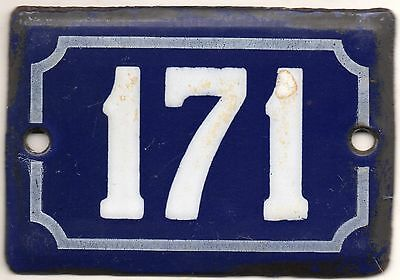 Cute old blue French house number 171 door gate plate plaque enamel metal sign
