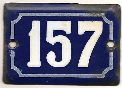 Cute old blue French house number 157 door gate plate plaque enamel metal sign