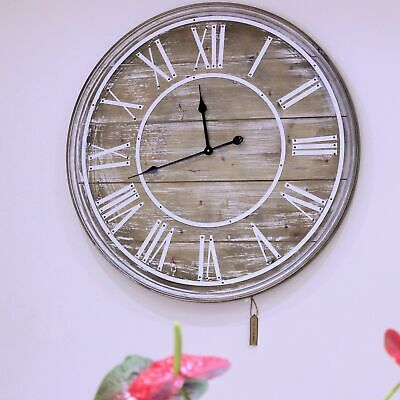 80cm Wooden Wall Clock Vintage Shabby Chic Large Open Face Roman Numerals