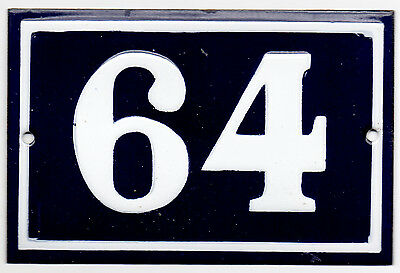Old blue French house number 64 door gate plate plaque enamel steel metal sign