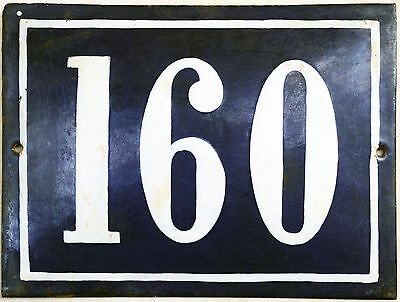 Big blue French house number 160 door gate plate plaque enamel steel metal sign